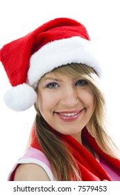 Beautiful woman with christmas decoration on isolated background