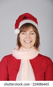 beautiful woman in christmas hat