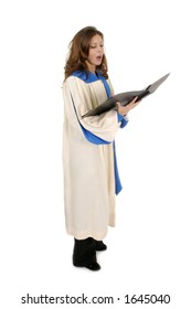 Beautiful woman church choir member in choir robe holding a music folder and singing.  Isolated on white.