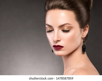 Beautiful woman classic oldstyle hairstyle