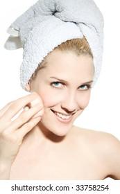 beautiful woman clean make-up