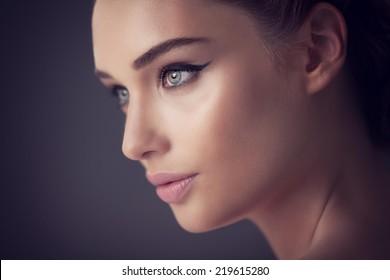 Beautiful woman. Close up.