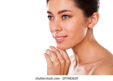 Beautiful  woman closeup . Face beauty