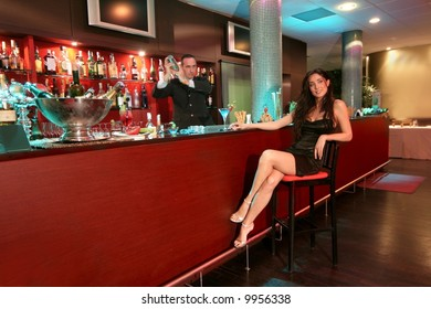 a beautiful woman at the cocktail bar