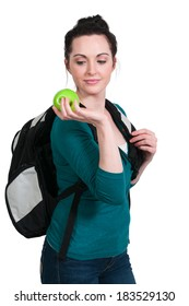 Beautiful woman college student with a backpack or book bag and apple