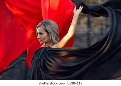 beautiful woman with colorful fabrics