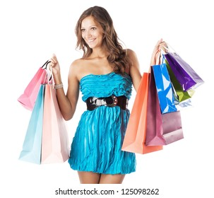 Beautiful woman with colorful shopping bags