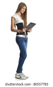 Beautiful Woman Communicate With Tablet Computer, isolate on white
