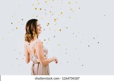 Beautiful Woman with Confetti