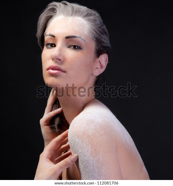 Beautiful Woman Covered in White Powder