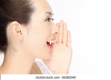 Beautiful woman cry Profile
