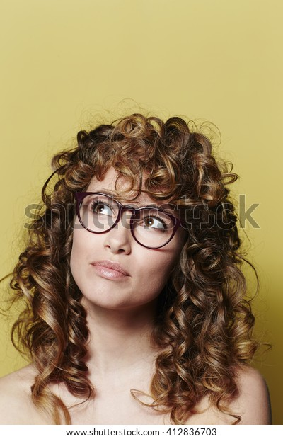 Beautiful Woman Curly Hair Glasses Looking Stock Photo Edit