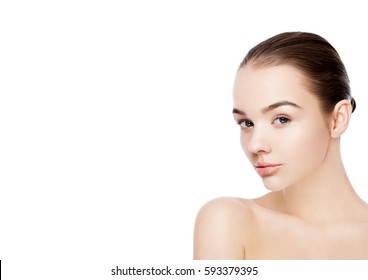 Beautiful woman with cute smile natural makeup spa skin care portrait on white background