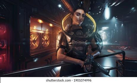Beautiful woman as cyber punk soldier