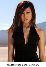Beautiful woman in the desert