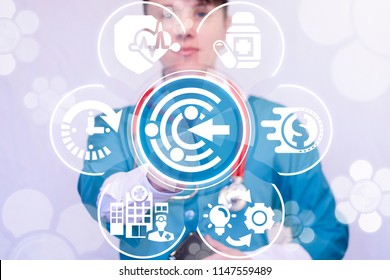 Beautiful woman doctor clicks a proactive icon surrounded by specific icons. Proactive Medicine Creativity Work concept.