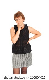 Beautiful woman doing different expressions in different sets of clothes: thinking