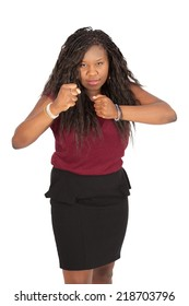 Beautiful woman doing different expressions in different sets of clothes: boxing
