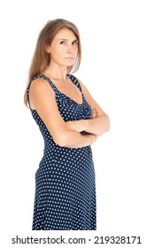 Beautiful woman doing different expressions in different sets of clothes: arms crossed