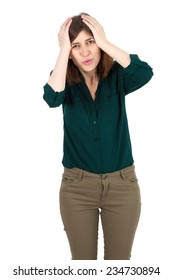 Beautiful woman doing different expressions in different sets of clothes: headache