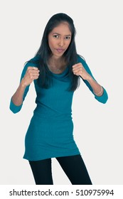 Beautiful woman doing different expressions in different sets of clothes: boxe