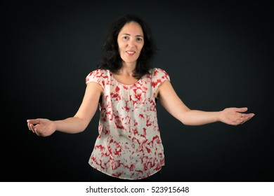 Beautiful woman doing different expressions in different sets of clothes: welcome