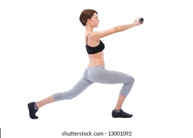 beautiful woman doing fitness exercises on white background