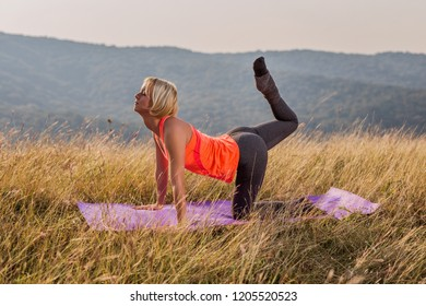 Beautiful woman doing yoga in the nature,Vyaghrasana/Tiger Pose.Image is intentionally toned.