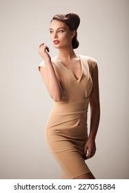 Beautiful woman in a dress.