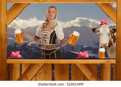 Beautiful woman dressed standing behind a bar serving beer and image retro finish with old scratches