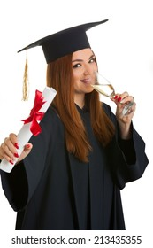 Beautiful woman drink champagne college graduate wearing cap and gown holding diploma isolated on white background