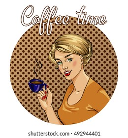 Beautiful woman drinks coffee illustration in retro comic pop art style. Coffee time concept poster.
