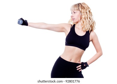 beautiful woman during fitness time with dumbbell - isolated