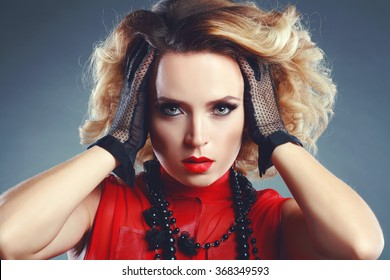 Beautiful woman with elegant dress Hairstyle from 80s Fashion photo Retro toning