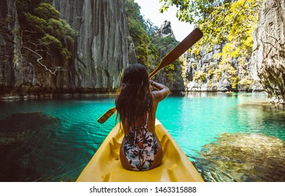 Beautiful woman enjoy the time at the lagoon in Coron, philippines. concept about tropical wanderlust traveling