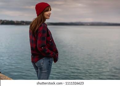 Beautiful woman enjoying her day on the lake