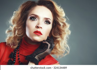 Beautiful woman with evening make-up. Retro style. Fashion photo. 80s hairstyle
