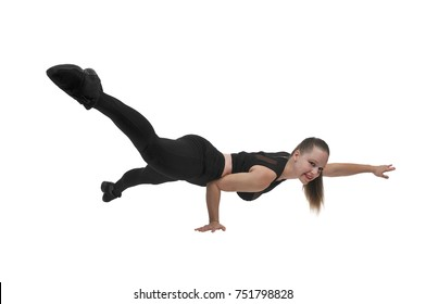 Beautiful woman exercising doing a set of one handed pushups