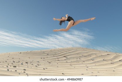The beautiful woman exercising on the sand dunes. This is a 3d render illustration