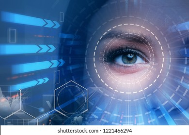 Beautiful woman eye with hud and blue arrows going towards it. Concept of hi tech and future. Toned image double exposure