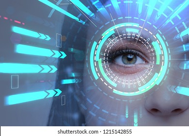 Beautiful woman eye with hud and bright blue arrows going towards it. Concept of hi tech and future. Toned image double exposure
