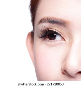 Beautiful woman eye with long eyelashes. asian model