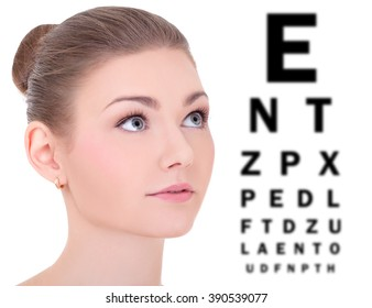 beautiful woman and eye test chart isolated on white background