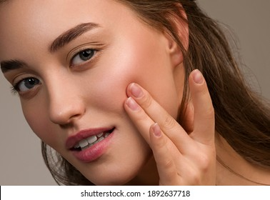 Beautiful woman face beauty healthy skin face female young model close up