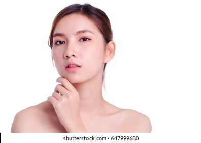 Beautiful Woman Face. Beauty Portrait. Beautiful Spa Woman Touching her Face. Perfect Fresh Skin. Pure Beauty Model Girl. Youth and Skin Care Concept. isolated on white background.