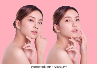Beautiful Woman Face. Beauty Portrait. Beautiful Spa Woman Touching her Face. Perfect Fresh Skin. Pure Beauty Model Girl. Youth and Skin Care Concept. isolated on pastel background.