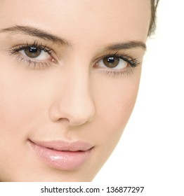 Beautiful woman face with clean skin