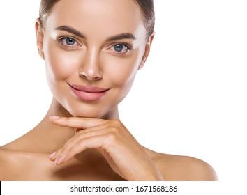 Beautiful woman face close up natural skin beauty eyes lips