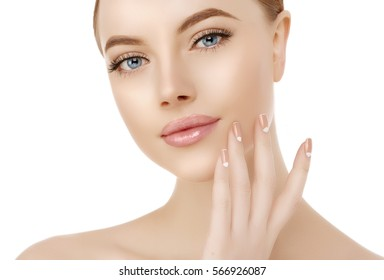 Beautiful woman face close up on white. Beauty spa model female, clean  perfect, youth, fresh skin care closeup. Concept. Portrait girl looking at camera, smiling Cosmetology, manicure nails, hands