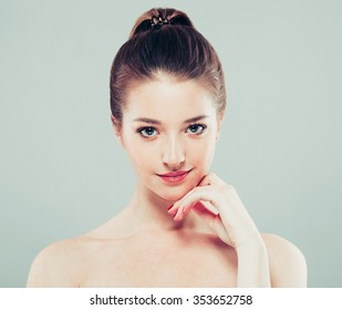 Beautiful woman face close up portrait young studio on vintage background